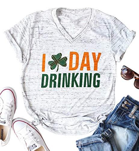 I Day Drinking T-Shirt Women St Patricks Day Short Sleeve V Neck Tees Cute Graphic Plaid Shamrock Top Shirt Size S (White) -