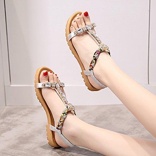 Coreana Silver Mujer Clip Agujeros Talla color Peep El Zapatos Sandalias Rhinestone Tamaño Toe Versión White Verano Para 40 Chanclas Flate White Student toe 6E8xqA8gnU