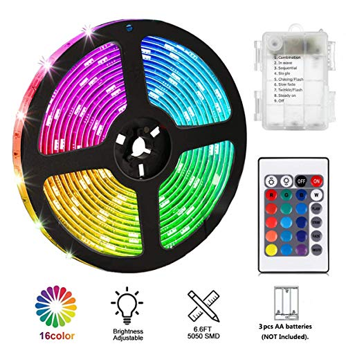 PINSAM Battery Powered Led Strip Lights, Waterproof Flexible Color Changing RGB LED Light Strip,5050 2M/6.6FT 60 LEDs 5V Battery-powered with RF -