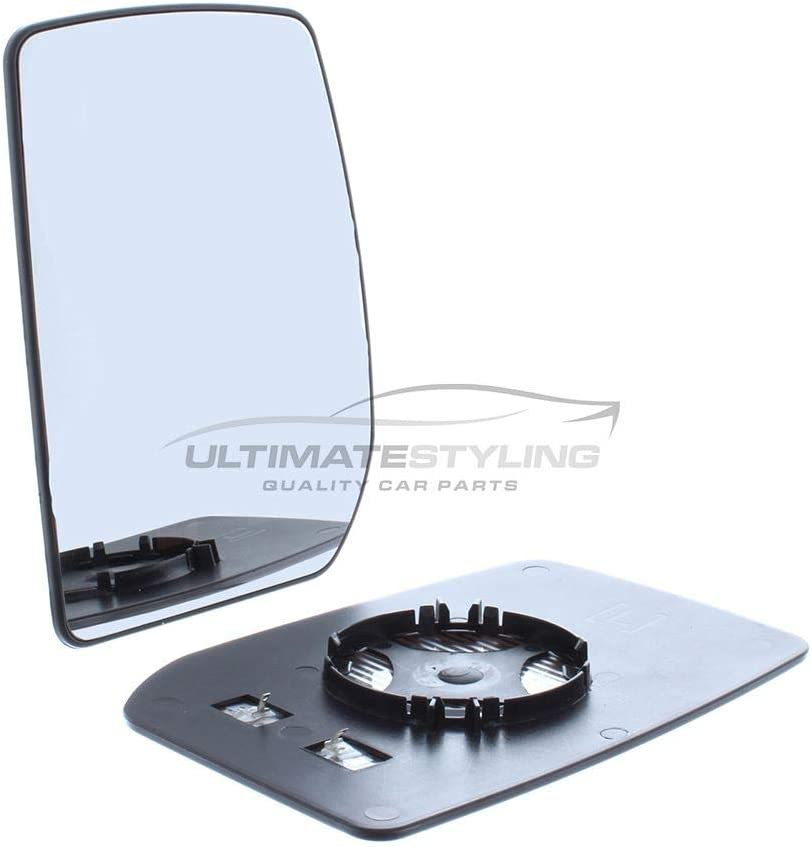 Ultimate Styling Aftermarket Replacement Heated Convex Chrome Wing Mirror Glass Passenger Side LH Upper Glass