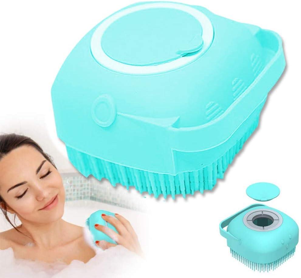 Silicona Cuerpo Cepillo, cepillo de ducha suave 2 en 1 para baño, depurador corporal con dispensador de gel de ducha, herramienta de ducha exfoliante para lavar (azul)