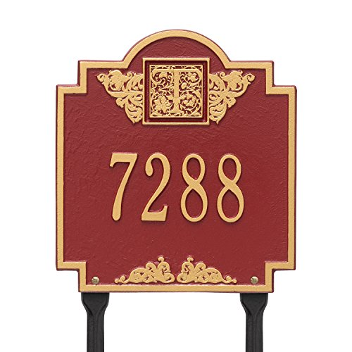 (Whitehall Products Monogram Standard Lawn Square Red/Gold 1-Line Address Plaque)