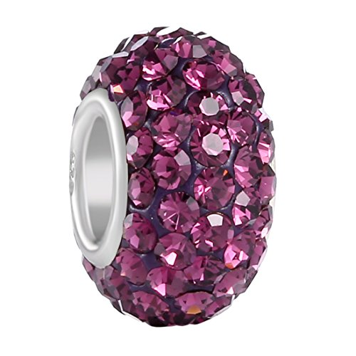 BoRuo Charms 925 Sterling Silver Czech Crystal Amethyst Glass Ball Beads Spacers February Birthstone Top QUality Solid Core Charm Fit Pandora Bracelets. - February Birthstone Charm