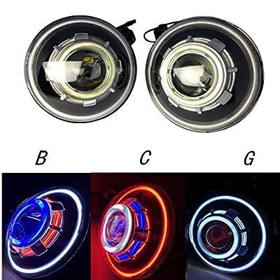 2 Pack-Lantsun 7 Inch 35W Round Demon Eye HID Projectors Headlights with Halos for Jeep Wrangler JK 07-17