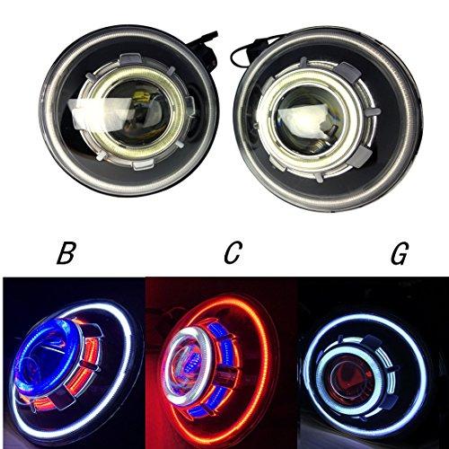 2 Pack-DOT Approved Lantsun 7 Inch 35W Round Demon Eye LED Projectors Headlights with Angel Halos for Jeep Wrangler JK 07-18 (C)