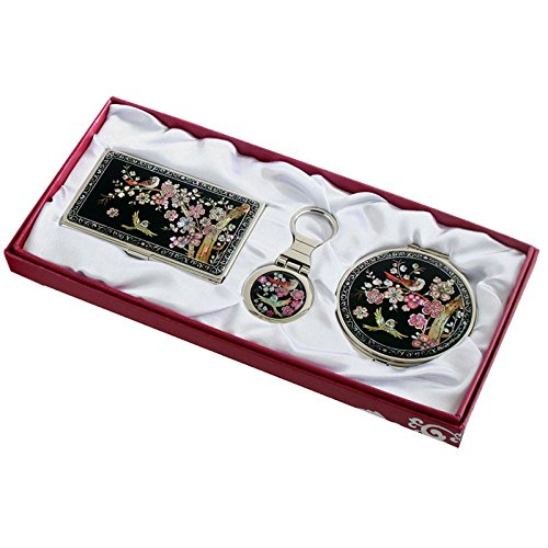 Powdered Mother Of Pearl - Nacre Mother of Pearl Business Card Holder Compact Mirror Keychain Gift Sets, Business Card Credit Id Card Case Makeup Cosmatic Mirror Key Holder Set Ume Flower Design