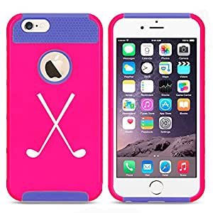 Apple iPhone 6 6s Shockproof Impact Hard Case Cover Crossed Golf Clubs (Hot Pink/Blue)