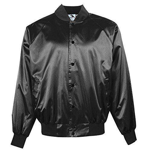 (Augusta Sportswear Men's Satin Baseball Jacket/Solid Trim S Black)
