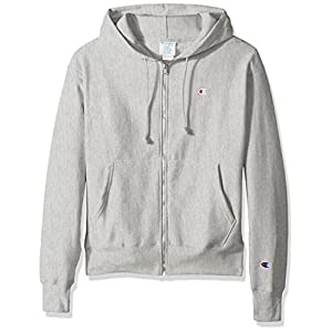 Champion LIFE Men's Reverse Weave Full-Zip Hoodie, Oxford Gray/Left ChestC Logo and Sleeve Patch, X Small