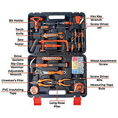 IBELL TB145-9, 145 Piece Socket Alloy Steel Wrench Auto Repair Tool Combination Package Mixed Tool Set Hand Tool Kit with Plastic Toolbox Storage Case 6