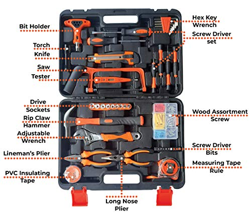 IBELL TB145-9, 145 Piece Socket Alloy Steel Wrench Auto Repair Tool Combination Package Mixed Tool Set Hand Tool Kit with Plastic Toolbox Storage Case 2