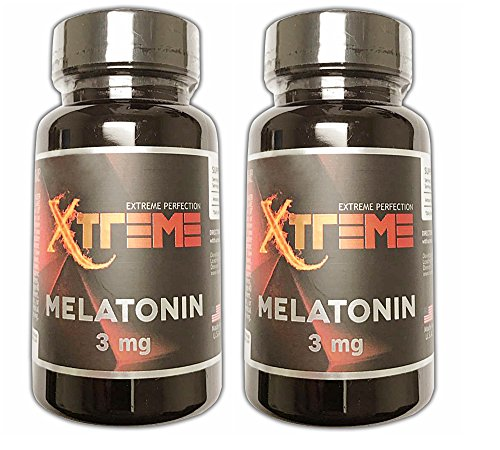 Pharmaceutical Grade Melatonin by Xtreme :: 3mg Tablets :: Better Sleep :: Brain Health :: 100 tabs :: Fast Acting and Non-Habit Forming Sleep Aid! (2 Pack)