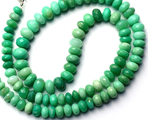 JP_Beads 1 Strand Natural Chrysoprase 7 to 10MM Facet Rondelle Beads 21 inch