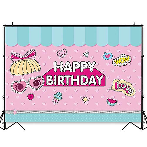 Funnytree 7x5ft Hot Pink Surprise Party Backdrop Polka Dots Princess Baby Girl Dolls Birthday Photography Background Cartoon Love Stripes Cake Table Decoration Photo Booth Banner -