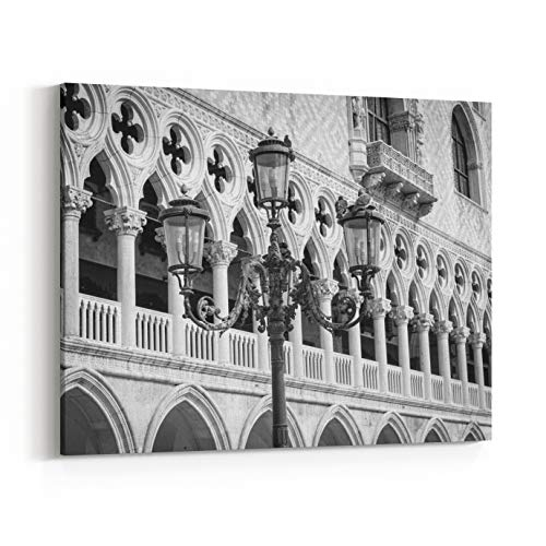 Bronze San Marco 32 - Rosenberry Rooms Canvas Wall Art Prints - Beautiful Ornate Lampposts in Piazza San Marco Against Doges Palace in Venice, Italy Black and White Photography (48 x 32 inches)