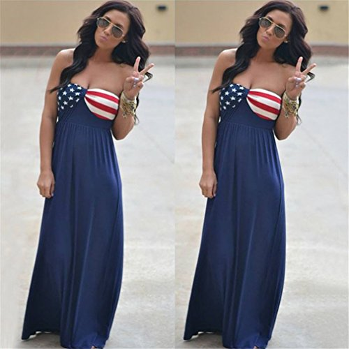 Wommen's Party Allonly Strapless Dress Printed Flag Sexy Color Maxi Clubwear Photo American 1AAadqBxw