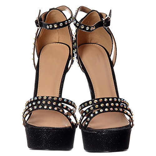 Glitter Metallic Stiletto Strappy Crystal Heel Encrusted Black Diamante Womens Onlineshoe OWUTp1p6