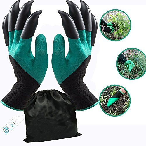 Garden Genie Gloves with Fingertips Claws Quick (Double Claw)by Awefrank --Safe for Rose Pruning –Best Gardening Tool -Best Gift for Gardeners-Great for Digging Weeding Seeding poking ()