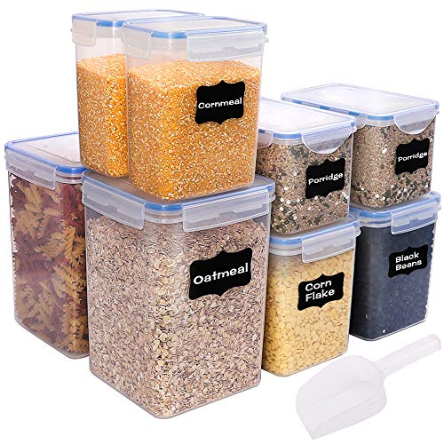 BAKHUK 8pcs Food Cereal Storage Containers(Total 24.5L/828oz),Airtight Large Food Storage Containers with Lids,Sugar,Flour Plastic Containers