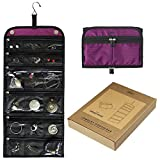 Jaimie Hanging Travel Jewelry Organizer - Compact Portable Size - Foldable Accessory Necklace Ring Bracelet Organizer for Travel & Home - 23 Zippered Pockets for Easy Storage [Gift Ready Royal Purple]