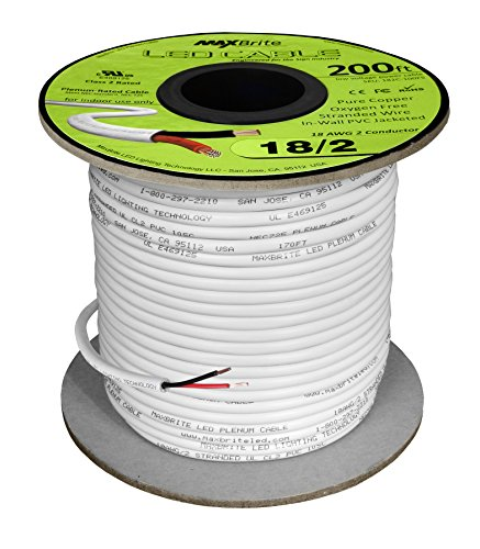18AWG Low Voltage LED Cable 2 Conductor Jacketed In-Wall Speaker Wire UL/cUL Class 2 (200 ft (Low Voltage Outdoor Wire)