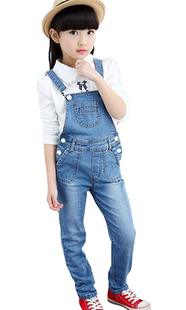 Big Girls Kids One Piece Classic Adjustable Strap Long Distressed Denim Suspender Bib Overalls Jeans Romper Jumpsuit