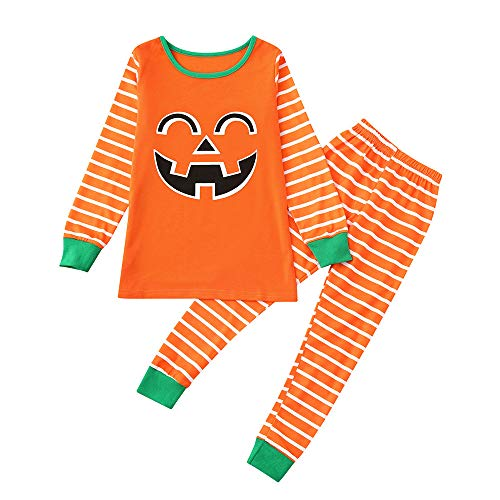 Gufenban Family Matching Halloween Pajamas Pumpkin Blouse Tops + Striped Pants Costume Loungwear Sleepwear Pjs (Boys-Orange,3-4 Years) -
