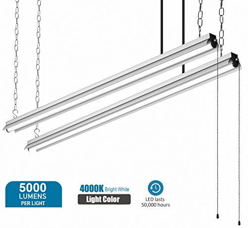 BESTTEN High Output 5000 Lumen 4000K  LED Shop Lights, 5 Fo