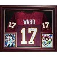 "Charlie Ward Autographed FSU Florida State Seminoles (Garnet #17) Deluxe Framed Jersey w/""93 Champs Heisman"" photo"