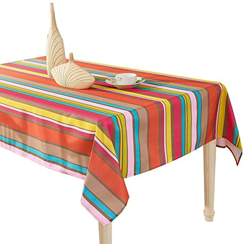 YEMYHOM 100% Polyester Spillproof Tablecloths for Rectangle Tables 60 x 104 Inch, Modern Printed Indoor Outdoor Camping Picnic Rectangular Table Cloth (Colorful Stripes)