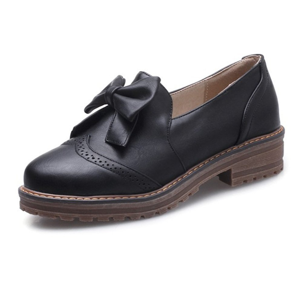 SFNLD Women's Sweet Bowknot Round Toe Slip on Low Heel Oxford Shoes Black 9.5 B(M) US
