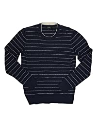 Jack Spade Textured Feel Striped Wool Blend Pullover Sweater