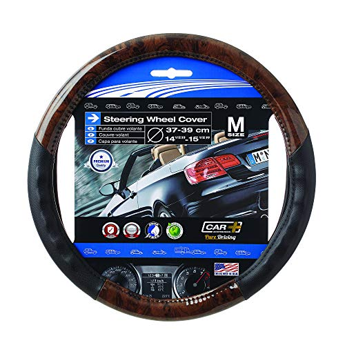 SUMEX Wood Grain Steering Wheel Cover Black fits all 14.5