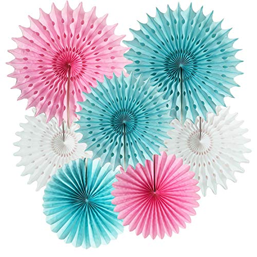 Gender Reveal Party Supplies He or She Pink Blue Tissue Paper Fans/Tissue Paper Pom Pom Flower Pink Blue Boy or Girl Baby Sex Reveal Party Decor