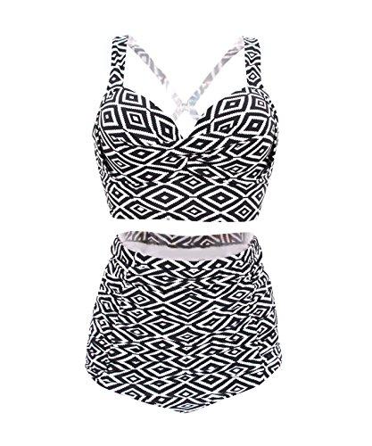 Plus Size High Waist Vintage Retro Bikini Push Up Separate Swimwear-KJX802-BKWT4 XXL