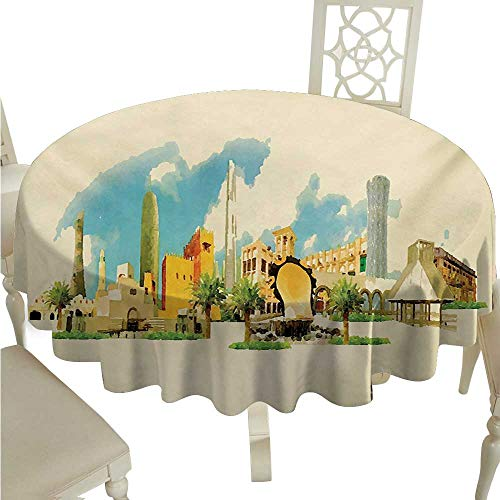 Landscape Easy Care Tablecloth Doha Historical Arabian Qatar Avant Garde Watercolor Panorama with Brush Strokes Runners,Gatsby Wedding,Glam Wedding Decor,Vintage Weddings D70