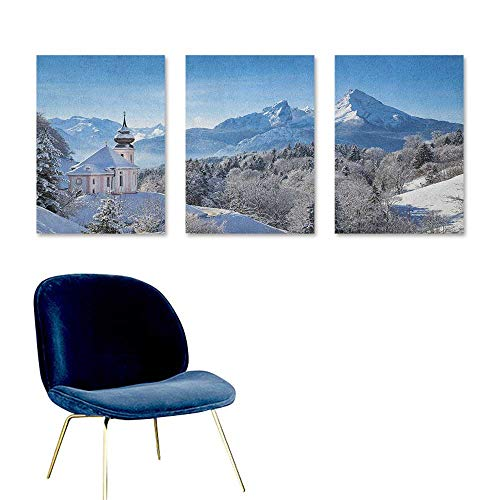 Winter Canvas Print Artwork Snowy Bavaran Alps with Maria Gern with Famous Watzmann Massif Scenes from Germany Easy Care Oil Painting 3 Panels 24x35inch Blue White
