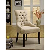 Furniture of America Dena Flax Fabric Accent Chair, Ivory, Set of 2