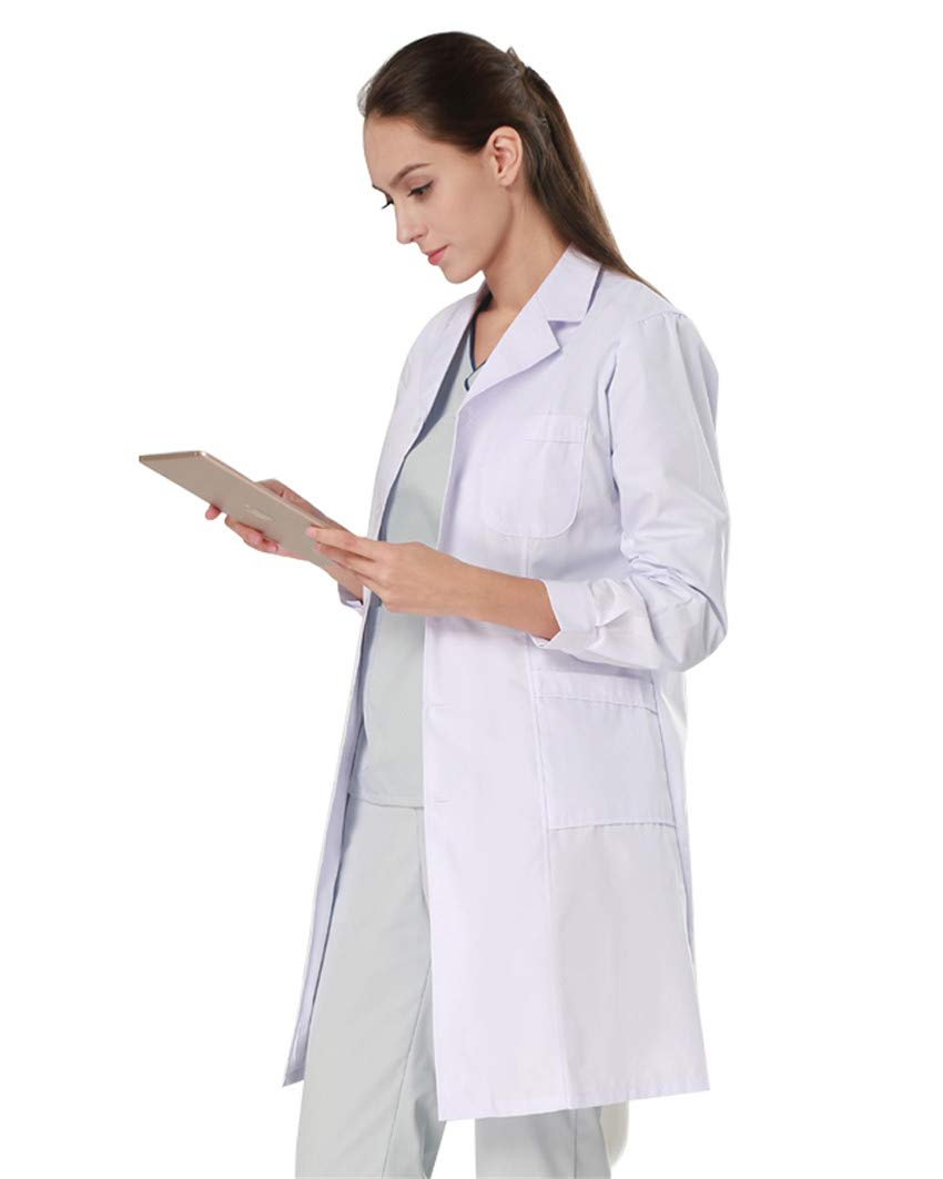 Nachvorn Professional Unisex Lab Coat Workwear Scrubs Uniform (L, Women)