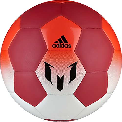 adidas Performance Messi Soccer Ball, White/Red/Solar Red, Size 5 - Red Soccer Ball