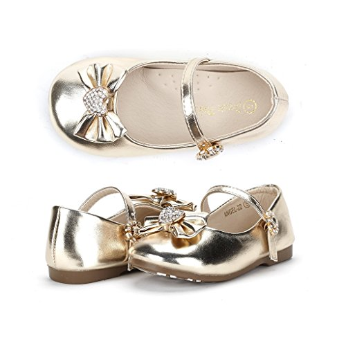 Gold Flat Heart (Dream Pairs ANGEL-22 Mary Jane Front Bow Heart Rhinestone Buckle Ballerina Flat (Toddler/ Little Girl) New, Gold Pu, 5 M US Toddler)