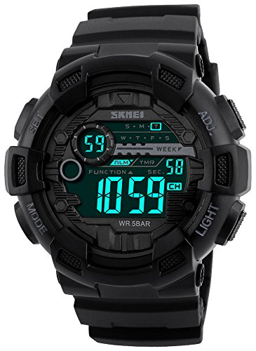 Time Stopwatch Dual Timer Countdown - Fanmis Mens Digital LED Sports Watch Military Multifunction Dual Time Alarm Countdown Stopwatch 12H/24H Time Backlight 164FT 50M Water Resistant Calendar Month Date Day Watch (Black)