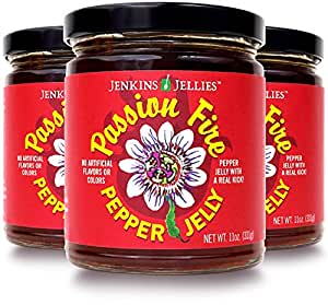Jenkins Jellies 11oz Passion Fire (Pack of 3), Sweet and Spicy, Hot Pepper Jelly with Jalapeños, Habaneros, Red Green Peppers and Chilis, use with Cream Cheese Spread or Give as Specialty Jam Gift Set