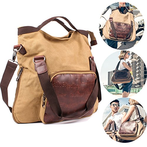 Geila Vintage Canvas Multi-purpose Satchel Messenger Bag Shoulder Crossbody Sling Bag for Men Women (khaki)