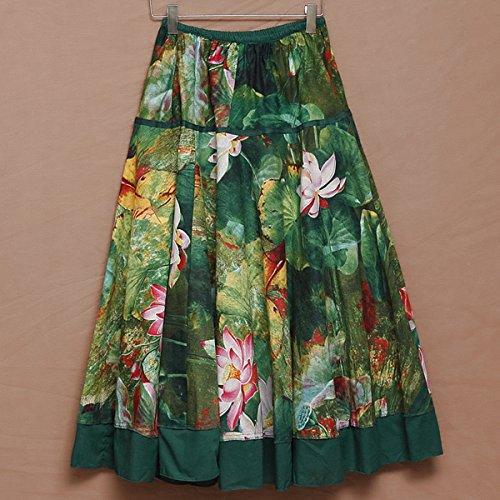 Impression Jupe Jupe Casual Fleurs Taille unique lgant Longue Plisse Feoya Femme Lotus 75cm FRanEE