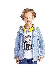 Pretty Tiger Little Boy's Grid Parka Zipper Hooded Casual Coat Children's Outerwear