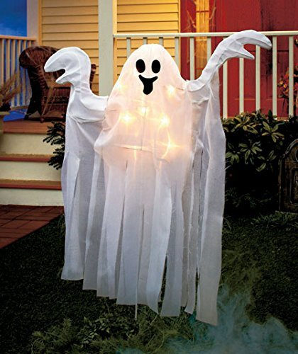 4 Ft Tall Lighted Spooky Halloween Stake Ghost Haunted House Yard Prop White Lights Outdoor (Scary Outdoor Halloween Decorations)