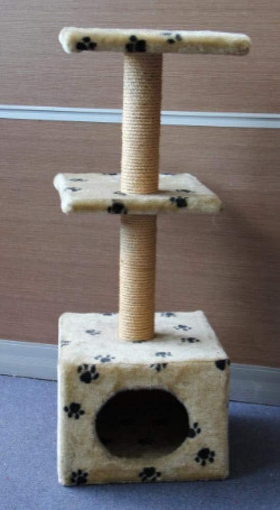 TOUYOUIOPNG Deluxe Multi Level Cat Tree Cat Play Towers Cat Tree Kitten Hammock Pet Plush 33  33  88cm Beige