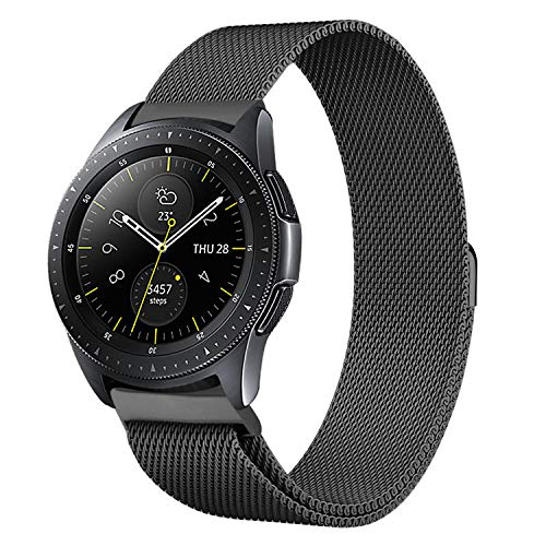 Shangpule Compatible Samsung Galaxy Watch (42mm) Bands, 20mm Milanese Loop Stainless Steel Metal Replacement Bracelet Strap Compatible Galaxy Watch SM-R810/SM-R815 /Gear Sport Smartwatch (Black)