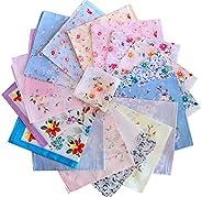 Cinyifan Elegant Flower Print Soft Cotton Ladies Handkerchief Vintage Gift Hanky 16&quo